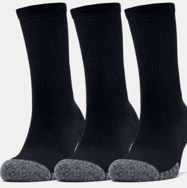 Under Armour Adult HeatGear® Crew Socks 3-Pack - Black - Black - Steel L Black