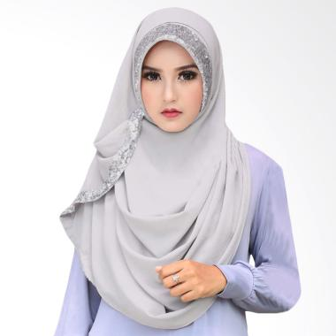 Cotton Bee Zaskia Sequins Pashmina Jilbab Instan - Light Grey