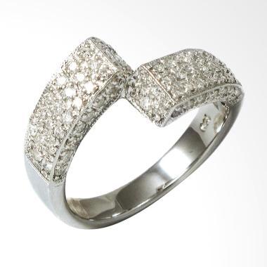 Lavish R15582 Cincin Berlian Premium Emas Putih [18K]