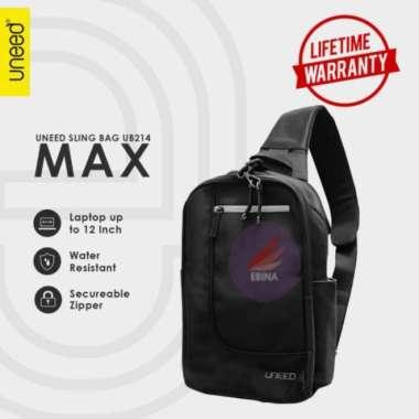 harga Dijual Uneed MAX Tas Selempang Pria  Sling Bag Pria Water Resistant - UB214 - Black Limited Blibli.com
