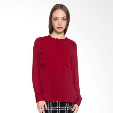 Minimal DBL Pocket Shirt Red Velvet Atasan Wanita