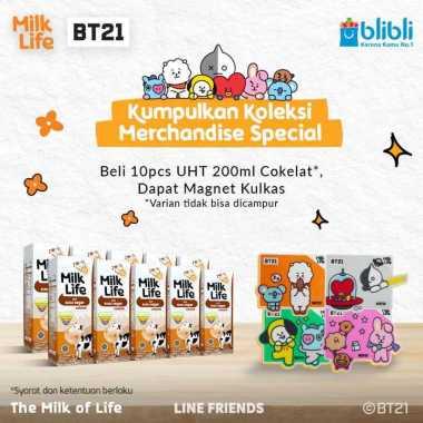 harga Surabaya - MilkLife Coklat – UHT Teens Tetra Slim Leaf [200 mL/10 pcs] + FREE Magnet Kulkas BT21 Blibli.com