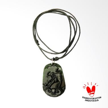 Vee Liontin Batu Giok Bergambar Shi ...  Terapi Kesehatan - Hitam