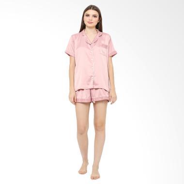 Madeleine Silk Short Setelan Baju Tidur - Dusty Pink