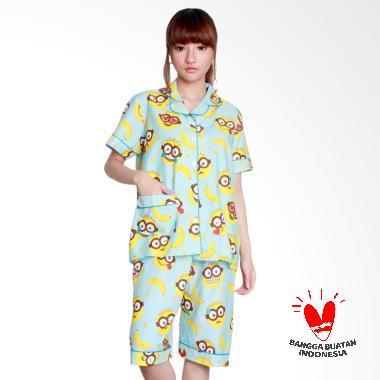 Dasterland Motif Minion Disney Setelan Baju Tidur Wanita - Babyblue