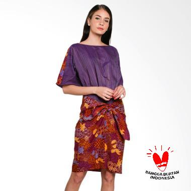 Lombang Batik Tenun Tali Ikat Dress - Ungu