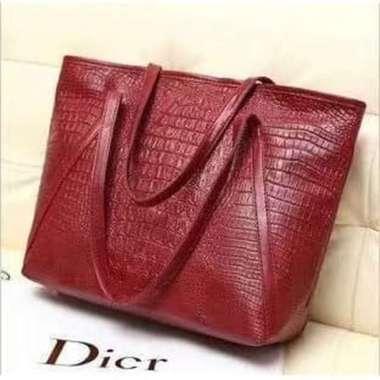 harga Dijual 555 Tas Wanita tote bag simpel - Merah Diskon Blibli.com