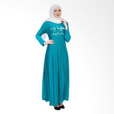 Okechuku Maxi Tangan Panjang Print  ...  Long Dress Gamis - Toska