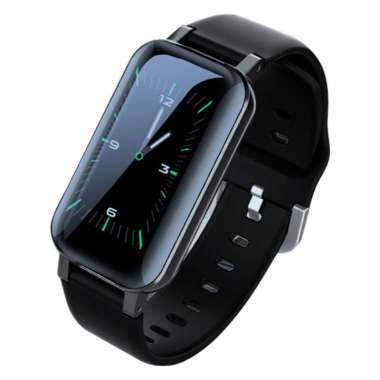 harga Bluelans T89PRO 1.14inch Bluetooth Heart Rate Monitor Sports Smart Bracelet with Earbuds Black Blibli.com