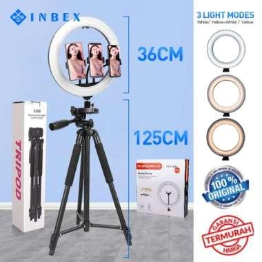 harga NO ONGKIR INBEX 36cm Ring Light+3208 Professional Tripod+3 Phone Holder+Remote Blibli.com