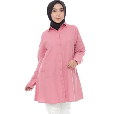 Zahra Signature Tunic Linen Rami Epaulet Button Tunik Muslim Wanita