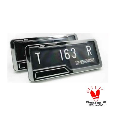 harga TGP ICON Cover Plat Nomor Motor / Dudukan Aksesoris Variasi Honda Yamaha Black Chrome Black Chrome Blibli.com