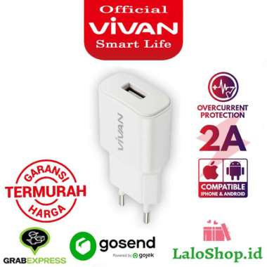 harga VIVAN CHARGER POWER OVAL 2A SINGLE USB OUTPUT ORIGINAL Putih Blibli.com