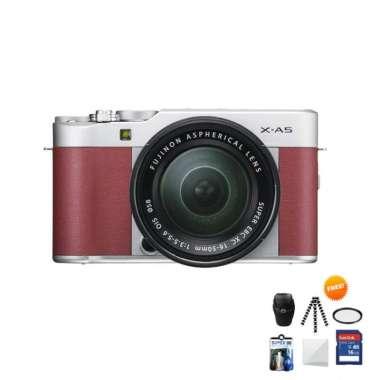 harga Fujifilm X-A5 KIT 15-45mm Kamera Mirrorless Free Screenguard + Memory SDHC 16GB+ MIni Folding/ Gorillapod+ Filter UV+ Tas Universal+ Cleaning Kit Pink Muda Blibli.com