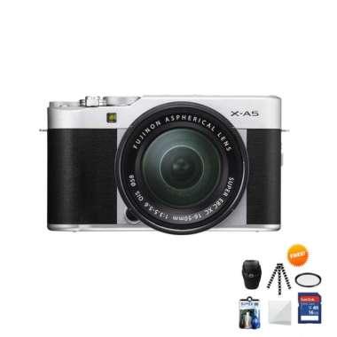 harga Fujifilm X-A5 KIT 15-45mm Kamera Mirrorless Free Screenguard + Memory SDHC 16GB+ MIni Folding/ Gorillapod+ Filter UV+ Tas Universal+ Cleaning Kit silver Blibli.com