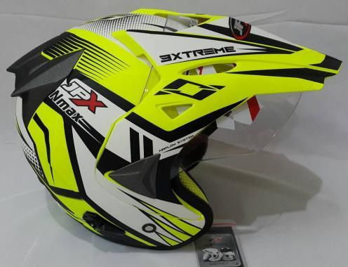 JPX Supermoto Nmax Fluorescent Helm Half Face - Yellow Doff