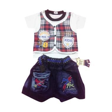 MOM Setelan Anak Kaos Rompi Celana Jeans - Kotak Merah
