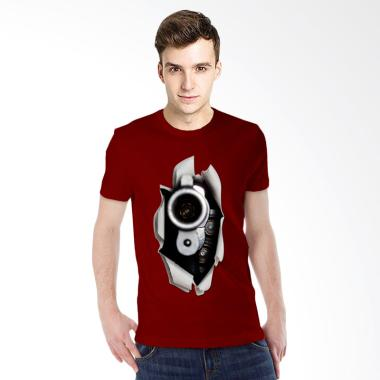 T-SHIRT GLORY Kaos 3D Gun Fire - Maroon