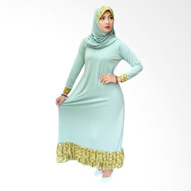 Fafa Collection Marsha 011 Gamis Batik with Hijab - Hijau
