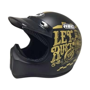 HBC Cakil Rust Dust Font Gold Helm Full Face - Black