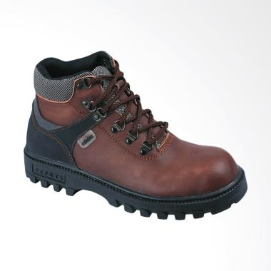 Raindoz Safety Kulit  Boot Sepatu Pria - Brown