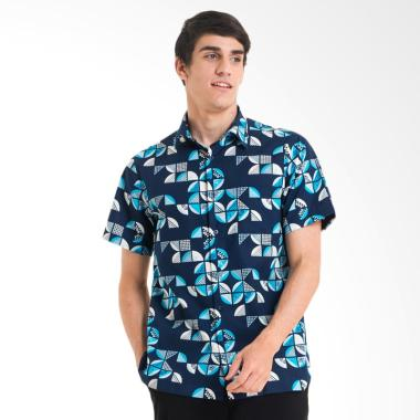 Bateeq Cotton Print Shirt Kemeja Batik Lengan Pendek Pria Navy Fm007a Fw17