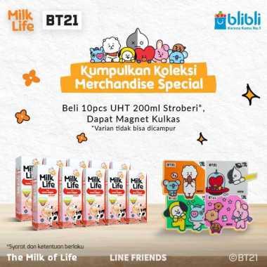harga Denpasar - MilkLife Stroberi – UHT Teens Tetra Slim Leaf [200 mL/10 pcs] + FREE Magnet Kulkas BT21 Blibli.com