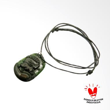 Vee Liontin Batu Giok Bergambar Shio Kelinci Kalung Terapi Kesehatan - Hitam