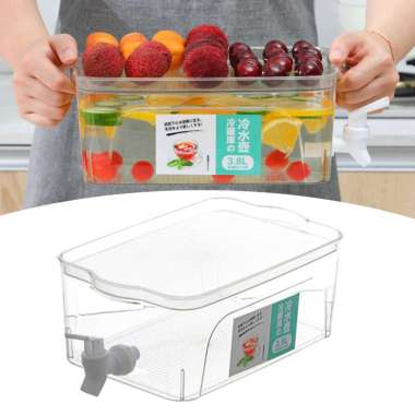 harga 3.8L Beverage Dispenser Water Drink Bucket with Lid and Faucet Refrigerator Clear Blibli.com
