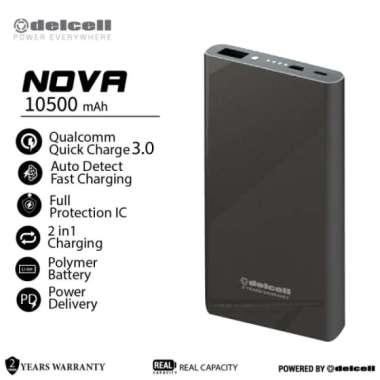 Dijual Delcell 10500mAh Powerbank NOVA Support Quick Charge 3.0A RealCapacity Diskon