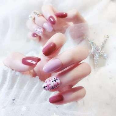 harga 24 Fake Nails Full Cover False Press On Nails w/Glue Sticker for Women Girls - Blibli.com