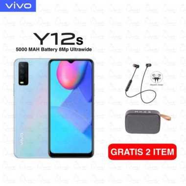 harga Vivo Y12s Smartphone [3GB/ 32GB] Free HEADSET bluetooth + Speaker bluetooth Glacier Blue Blibli.com