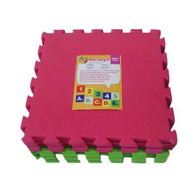 Ari Jaya Polos Karpet Puzzle - Merah Hijau [10 Pcs]