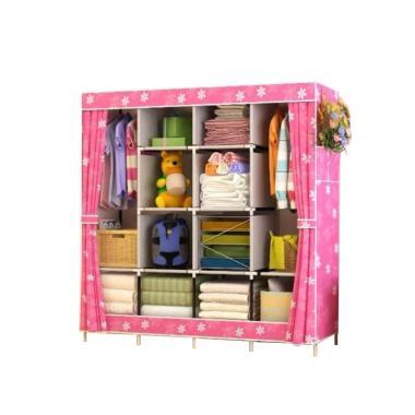 Radysa Portable 4 Layer Lemari Pakaian - Pink Sunflower