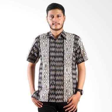 Batik Nulaba Cap Beras Kemeja Pria - Putih Hitam