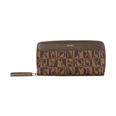 Bonia Bronze Monogram Zip Purse Dompet Wanita
