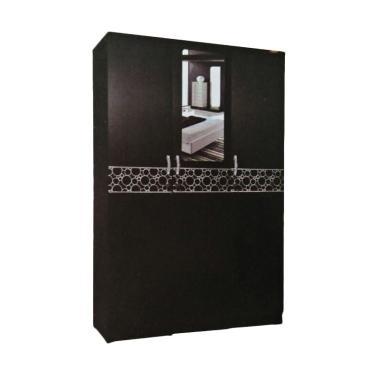 Creova Full Panel dengan Cermin Lemari Pakaian - Hitam [3 Pintu]