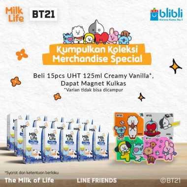 harga Bandung - MilkLife Creamy Vanila – UHT Kids Tetra Slim Leaf [125 mL/15 pcs] + Free Magnet Kulkas BT21 Blibli.com
