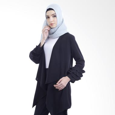 Hanalila Daily Hijab Felo Outer Cardigan Muslim Wanita - Black