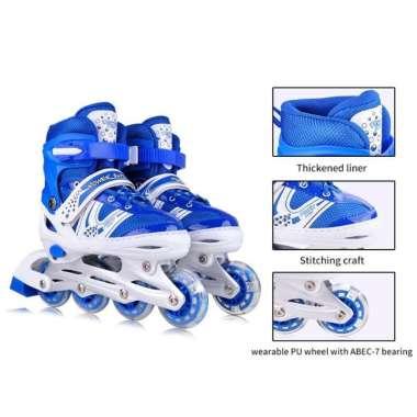 harga Sepatu Roda Inline Anak Anak Skate Bisa Roda Bajaj Lengkap Dengan Baut M biru Blibli.com