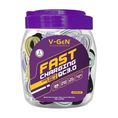 V-GeN JCM3-01 Fast Charging 2.4A Kabel Data MicroUSB [1 Toples/35 pcs]