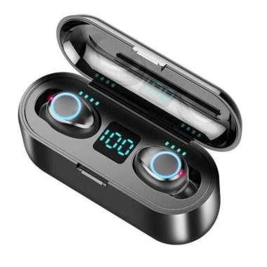 harga ZEBRA TWS Earphone Bluetooth 5.0 LED Powerbank Dock 2000mAh - F9-2 Hitam Blibli.com