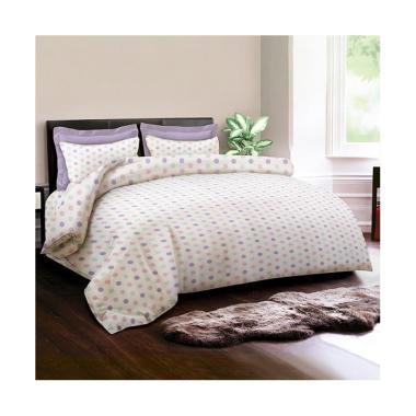 King Rabbit Motif Papilon Dot Bed Cover - Ungu