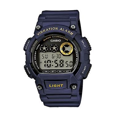 Casio W-735H-2AVDF Vibration Alarm Jam Tangan Pria - Biru