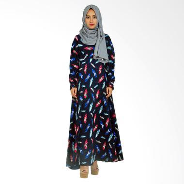 Hanalila Daily Hijab Viola Abaya Motif Quill Dress Muslim - Navy
