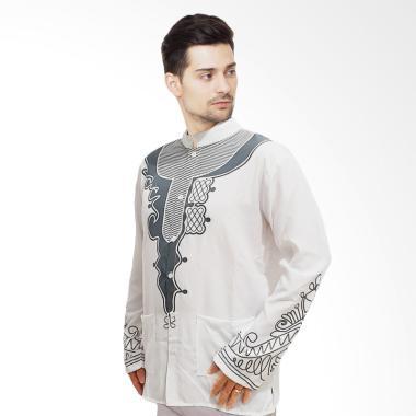 JCFASHION Yusuf Panther Baju Koko Lengan Panjang Muslim Pria - White