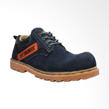 Cut Engineer Safety Low Boots Dicky Leather Sepatu Pria - Navy