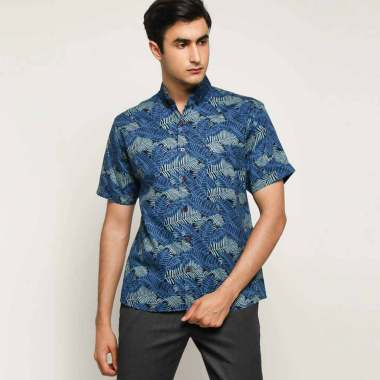harga Batik Waskito Cotton Batik Shirt Kemeja Lengan Pendek Pria - Blue [HB 9189J] Blibli.com