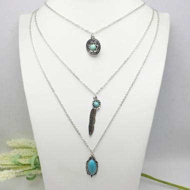 3Pcs Bohemian Leaf Feather Crystal Chain Charm Bracelet Bangle for Women Jewelry