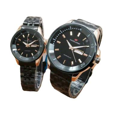 Swiss Army SA 1501 Jam Tangan Couple - Black Gold